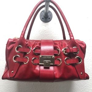 JImmy Choo Red Leather Ramona Shoulder Bag